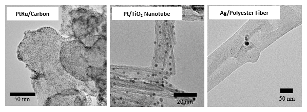 PtRu/Carbon , Pt/TiO2 Nanotube , Ag/Polyester Fiber